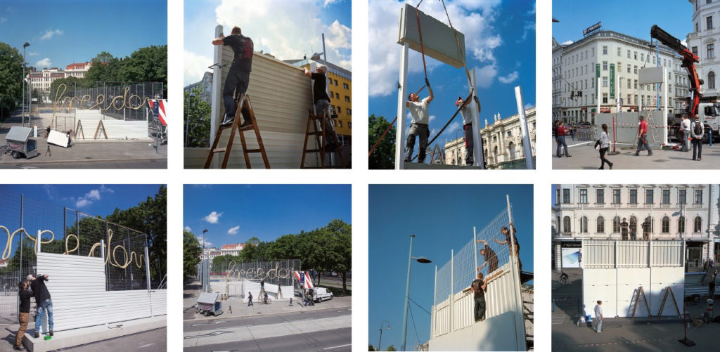 Installation process, Belfast Peace Line and USA/Mexico Barrier, Vienna, 2014