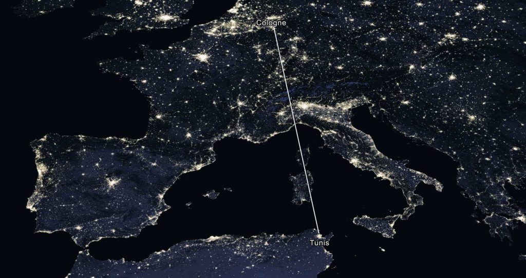 1600 km linear distance between the sister cities Tunis and Cologne - NASA night view, 2016